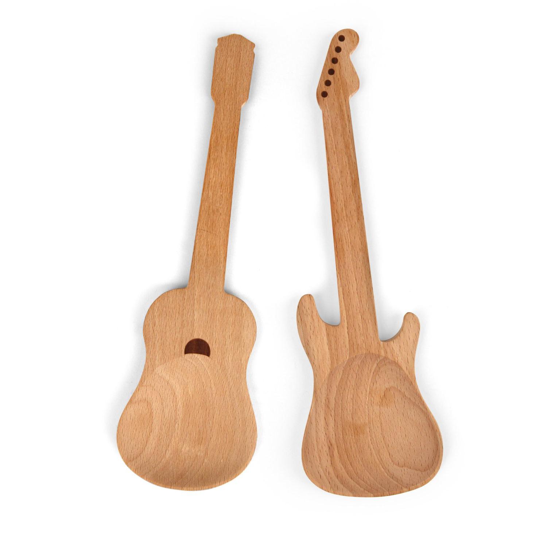Buchenholz Salatbesteck/ Kochlöffel Gitarren